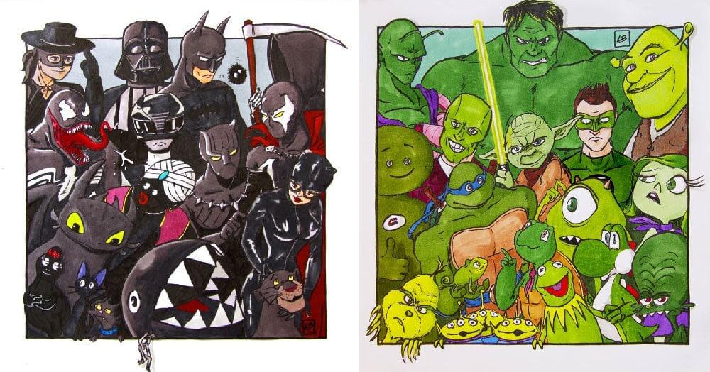 Художница из Франции сгруппировала известных мультперсонажей по цветам. И вот какие команды получились