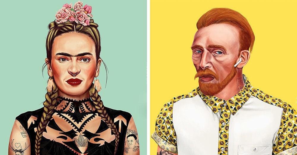 Художник из Израиля представил, как выглядели бы знаменитые художники, будь они хипстерами