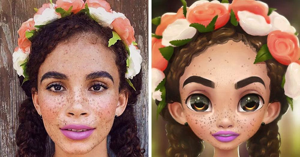 22 фотографии простых людей, которые стали крутыми мультяшками с лёгкой руки художницы с Мадагаскара