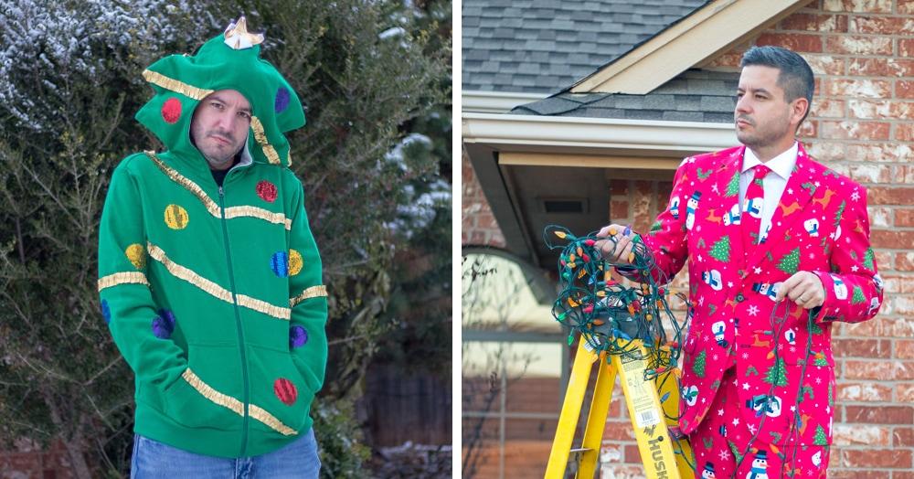 Американец устроил фотосессию в диковатой рождественской одежде. И подошёл со всей серьёзностью!