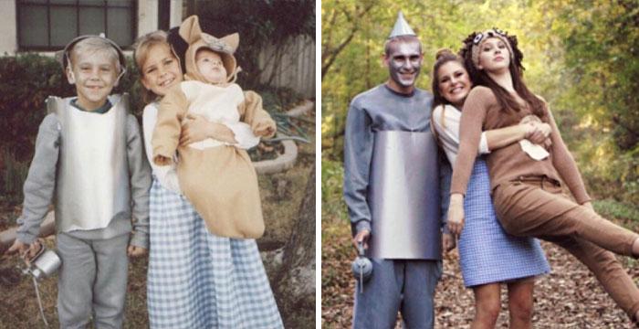 18 фотографий, на которых семьи повторили свои снимки из прошлого и на минутку вернулись в детство 9
