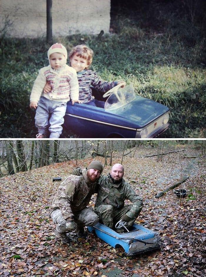 18 фотографий, на которых семьи повторили свои снимки из прошлого и на минутку вернулись в детство 1