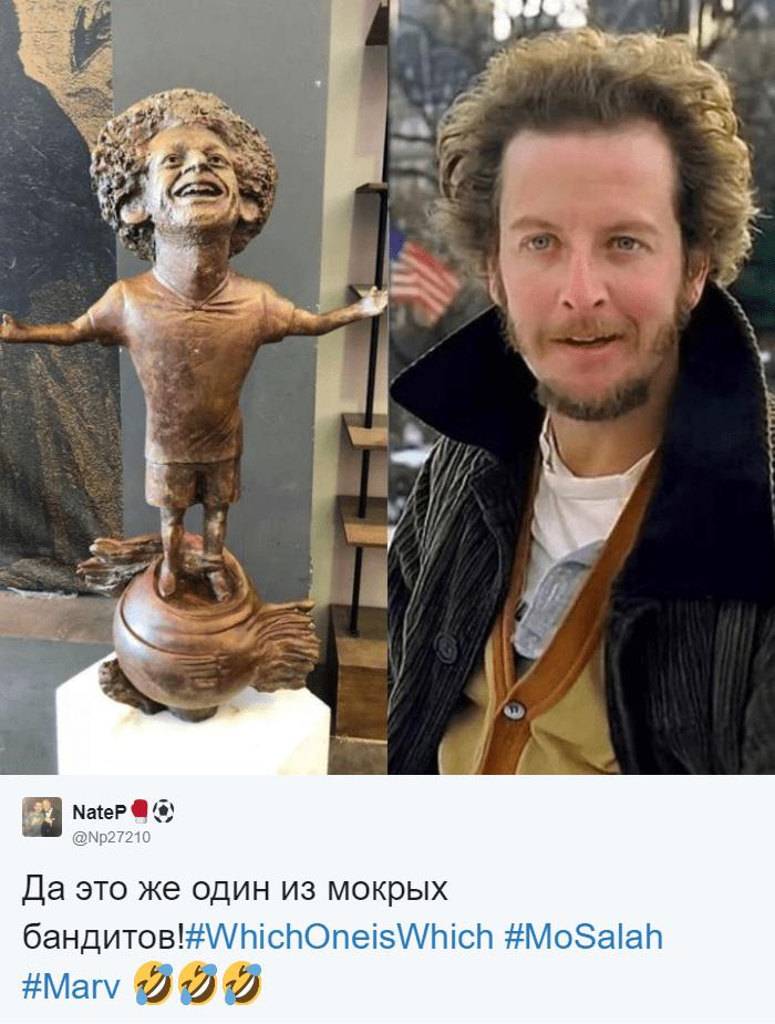 Египетский скульптор создал статую футболиста Мохаммеда Салаха, и она оказалась даже веселее, чем у Роналду 5