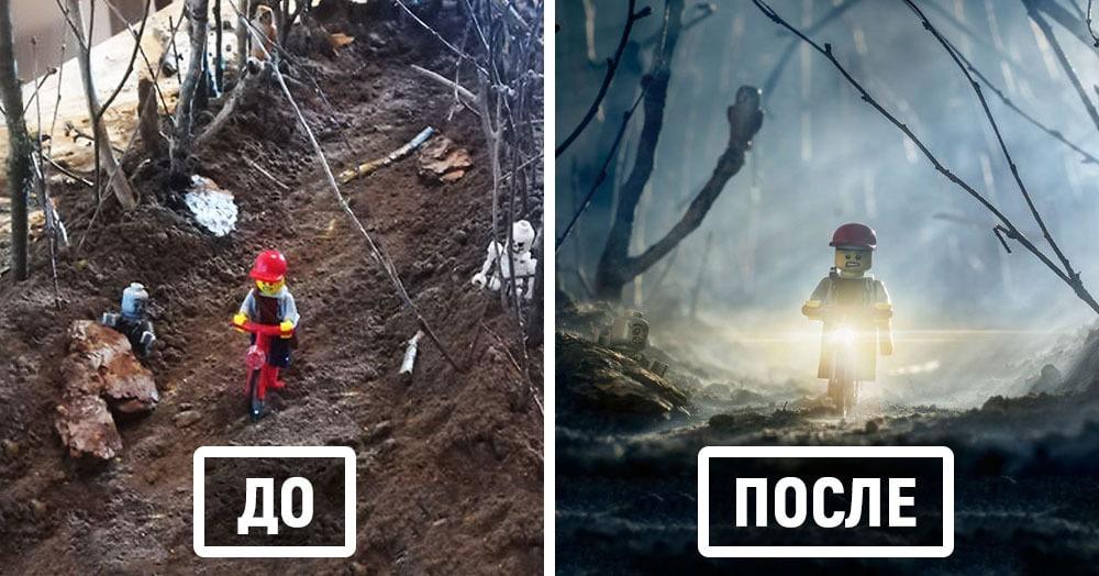 Фотограф снимает игрушки Lego и сам создаёт для них спецэффекты. И вот как выглядят его работы до и после