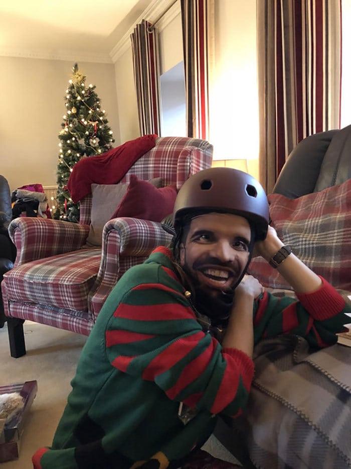 I Got My Girlfriend A New Bike Helmet. With A Drake Face-Print Balaclava Now She Looks Like A Custom Video Game Character