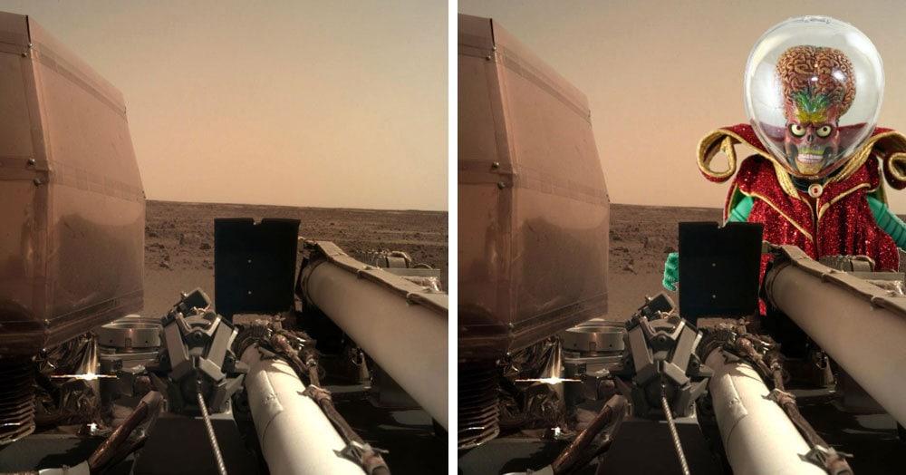 Зонд совершил посадку на Марс и отправил первые фотографии землянам. А они расчехлили свои фотошопы