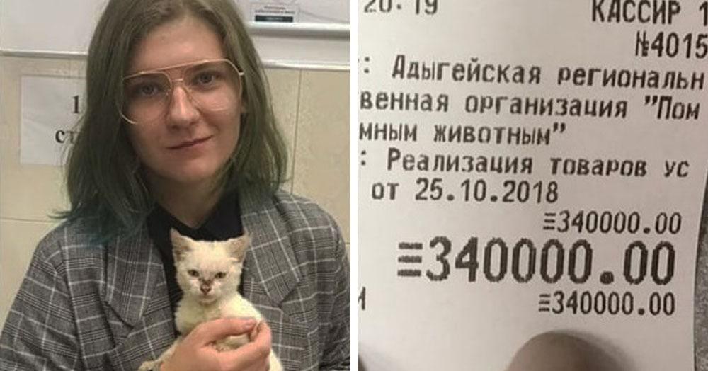 Студентка из Адыгеи оплатила долг приюта в 340 тысяч, чтобы отдать туда котёнка, которого нашла на улице