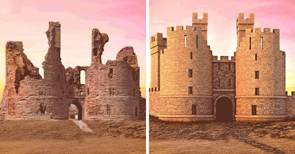 6 GIF-анимаций, которые показывают, как первоначально выглядели разрушенные замки Великобритании
