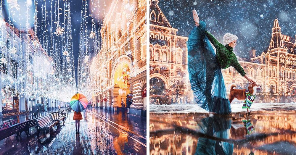 Москвичка делает волшебные фотки заснеженной столицы, превращая её в далёкую и сказочную Москвандию