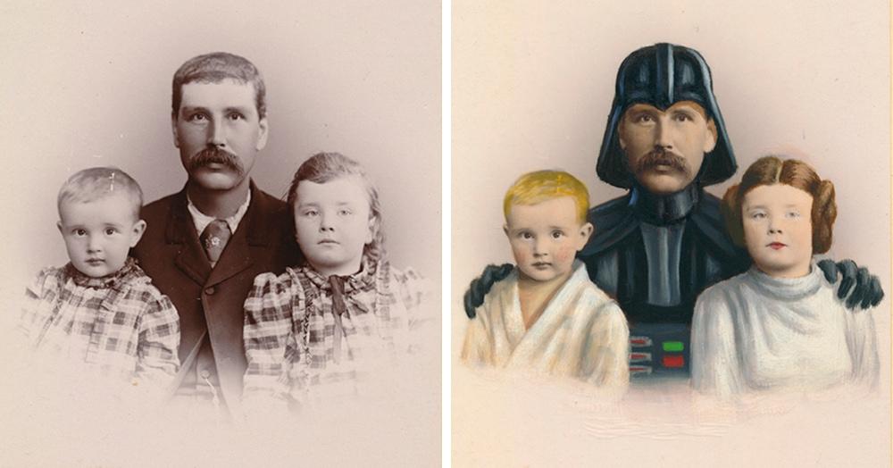 Художник даёт старинным фотокарточкам новую жизнь, превращая людей на них в известных героев