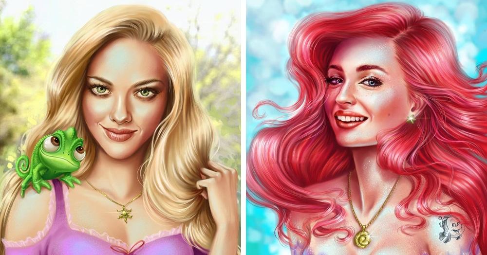 Художница представила, какие известные актрисы могли бы сыграть диснеевских принцесс