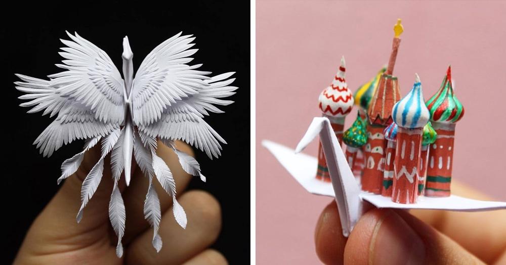 Мужчина сделал 1000 невероятно красивых бумажных журавликов, которые поражают своей утончённостью