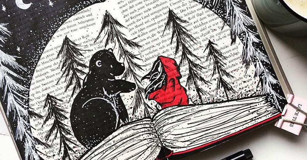 Художник из Германии наполняет старые ненужные книги волшебными иллюстрациями, рисуя поверх текста