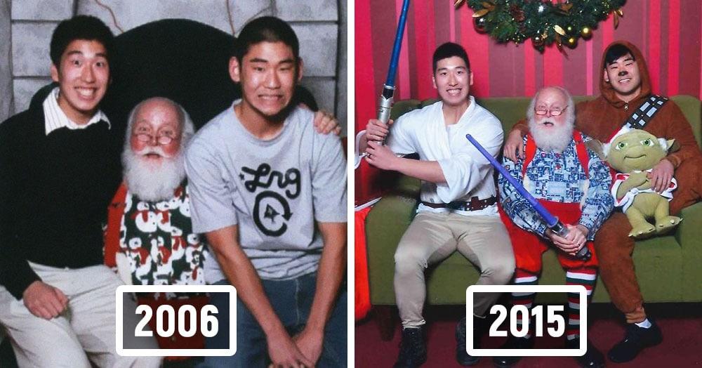 Парни каждый год делали фото с Сантой, меняя только наряды. Но сами за 12 лет нисколько не постарели