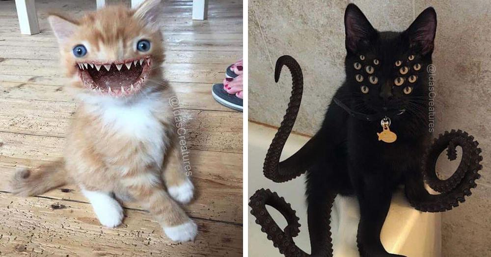 Девушка фотошопит домашних любимцев в бабаек, и эти зверюги испугают даже своих хозяев