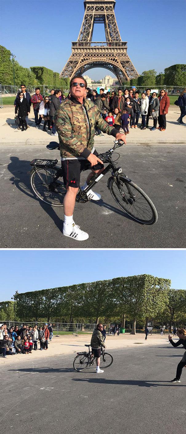 Арнольд Шварценеггер Фотобомбы Туристы перед Эйфелевой башней