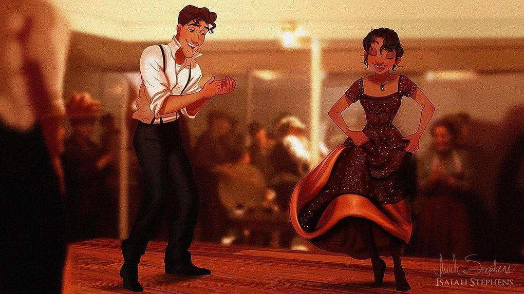 Художник представил, как смотрелись бы герои диснеевских мультиков в популярных сценах Титаника 1