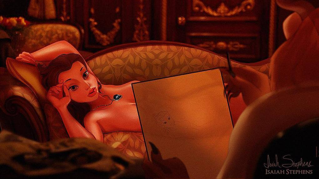 Художник представил, как смотрелись бы герои диснеевских мультиков в популярных сценах Титаника 5