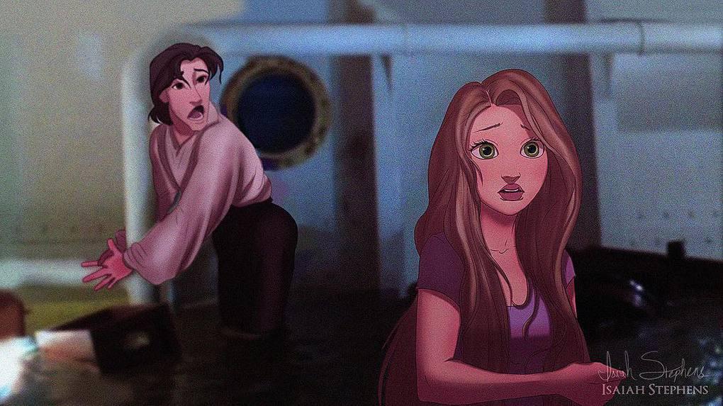 Художник представил, как смотрелись бы герои диснеевских мультиков в популярных сценах Титаника 7
