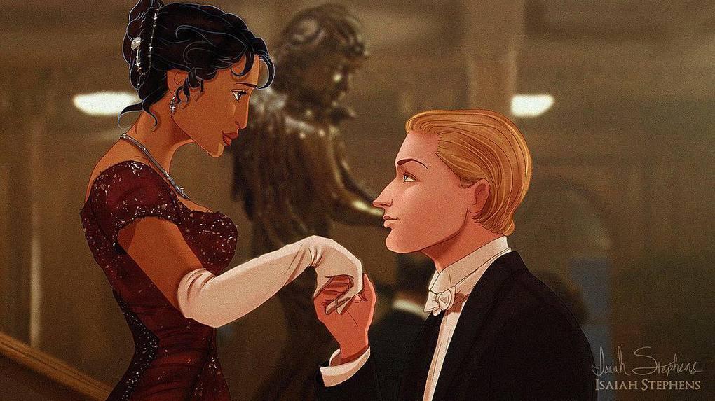 Художник представил, как смотрелись бы герои диснеевских мультиков в популярных сценах Титаника 8