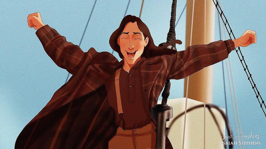 Художник представил, как смотрелись бы герои диснеевских мультиков в популярных сценах Титаника 11