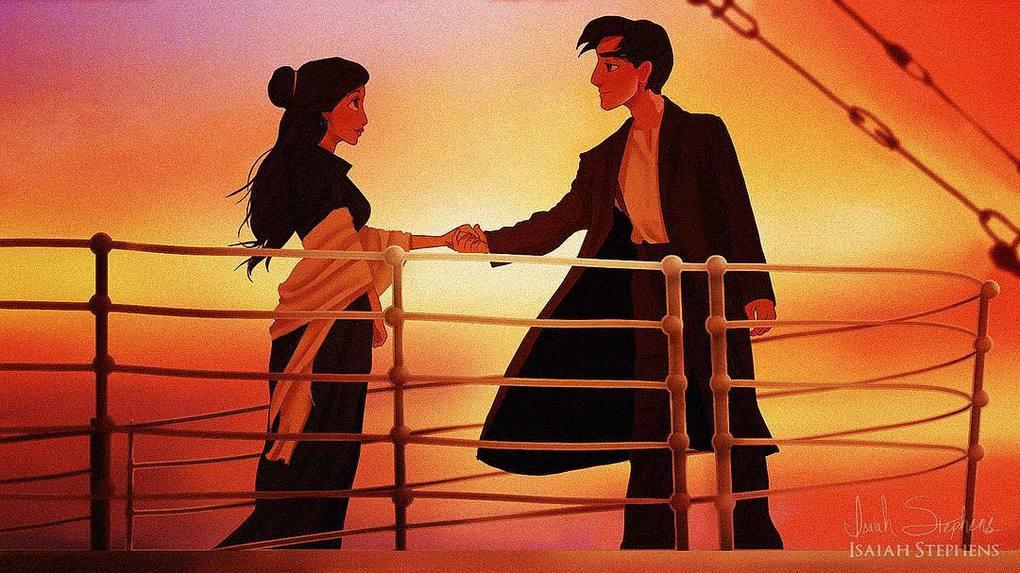 Художник представил, как смотрелись бы герои диснеевских мультиков в популярных сценах Титаника 13