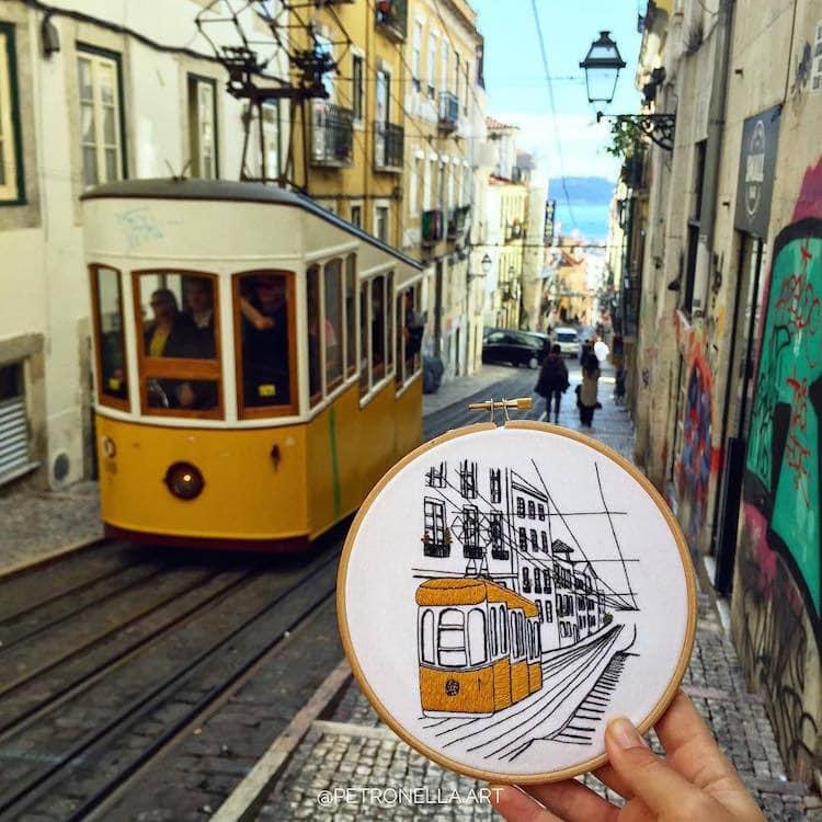 Пара путешествует по Европе и запечатлевает увиденное, но не на фото. Они это вышивают! 8