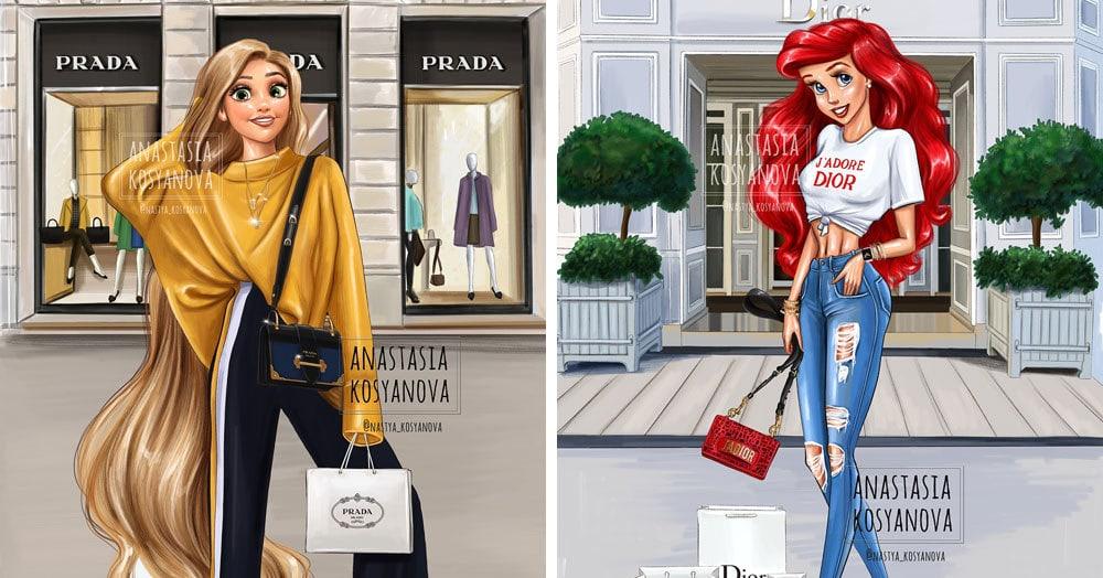 Художница из России сделала из диснеевских принцесс современных модниц, которые знают, что такое стиль