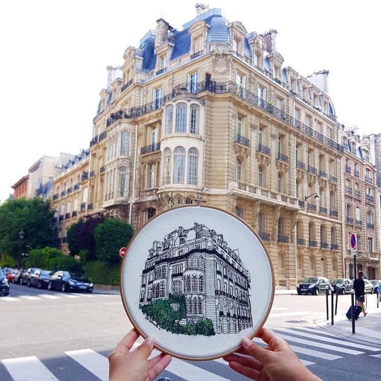 Пара путешествует по Европе и запечатлевает увиденное, но не на фото. Они это вышивают! 9