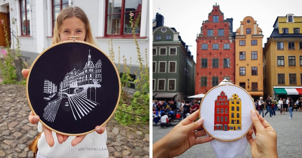 Пара путешествует по Европе и запечатлевает увиденное, но не на фото. Они это вышивают!