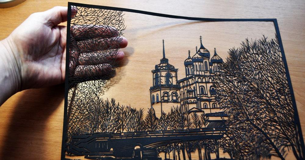 Пенсионер из Пскова вырезает невероятные картины из бумаги, которые поражают своей утончённостью