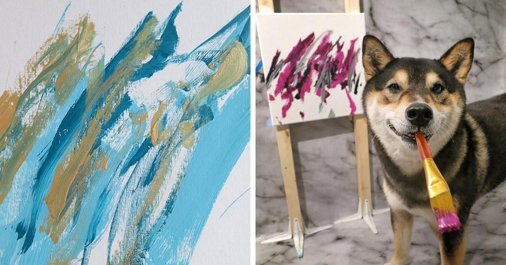 Пёс рисует картины кистью по холсту. И делает это так хорошо, что от желающих купить нет отбоя!