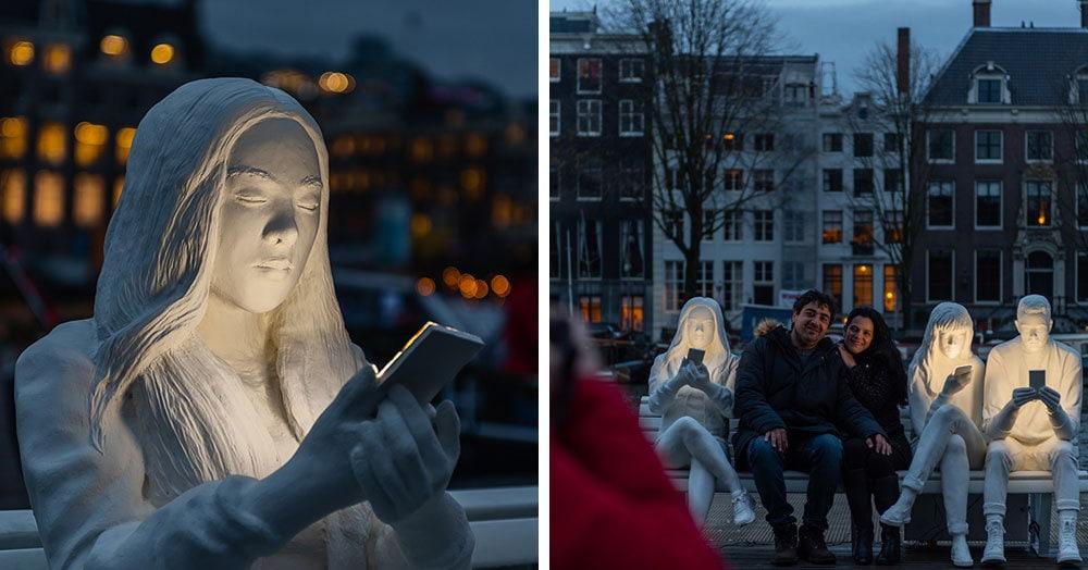 На фестивале света в Амстердаме появилась скульптура, которая показывает нашу одержимость гаджетами