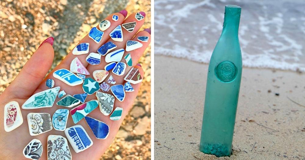 Девушка ищет на пляже материалы для украшений и показывает в Инстаграме свои удивительные находки