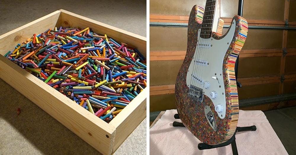 Парень решил сделать электрогитару из 1200 цветных карандашей. Всё получилось, и на ней можно играть