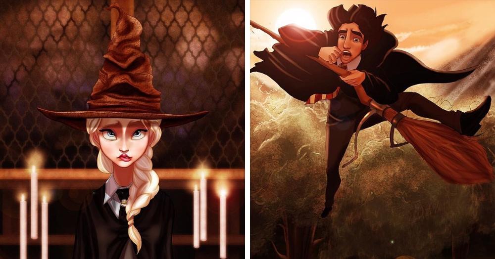 Художник показал, как выглядели бы принцы и принцессы Диснея, если бы они учились в Хогвартсе