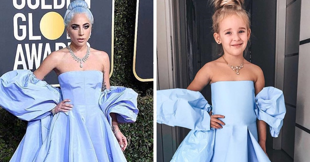 Художница копирует из подручных материалов платья звёзд и наряжает дочку. Получается так похоже!
