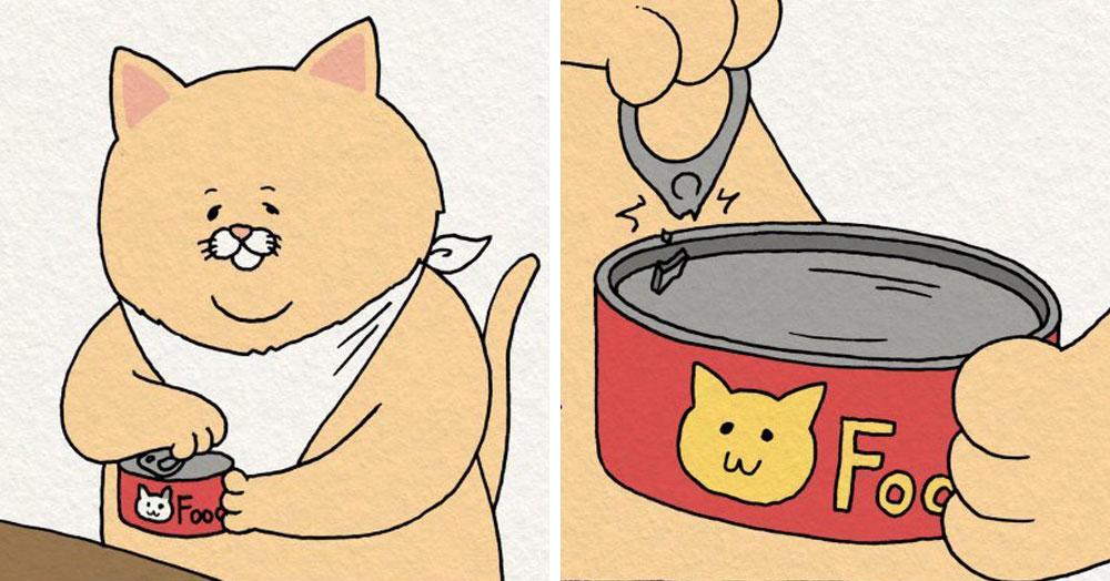 15 комиксов о милом котике, который вечно попадает в нелепые, но такие жизненные ситуации