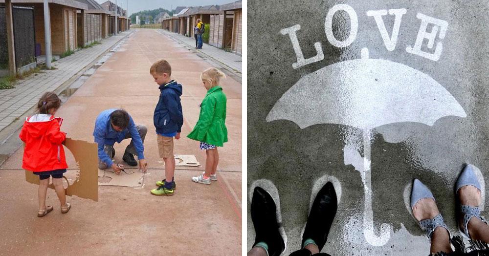 Художник оставляет невидимые рисунки на асфальте. Узнать, что там скрывается, можно лишь после дождя