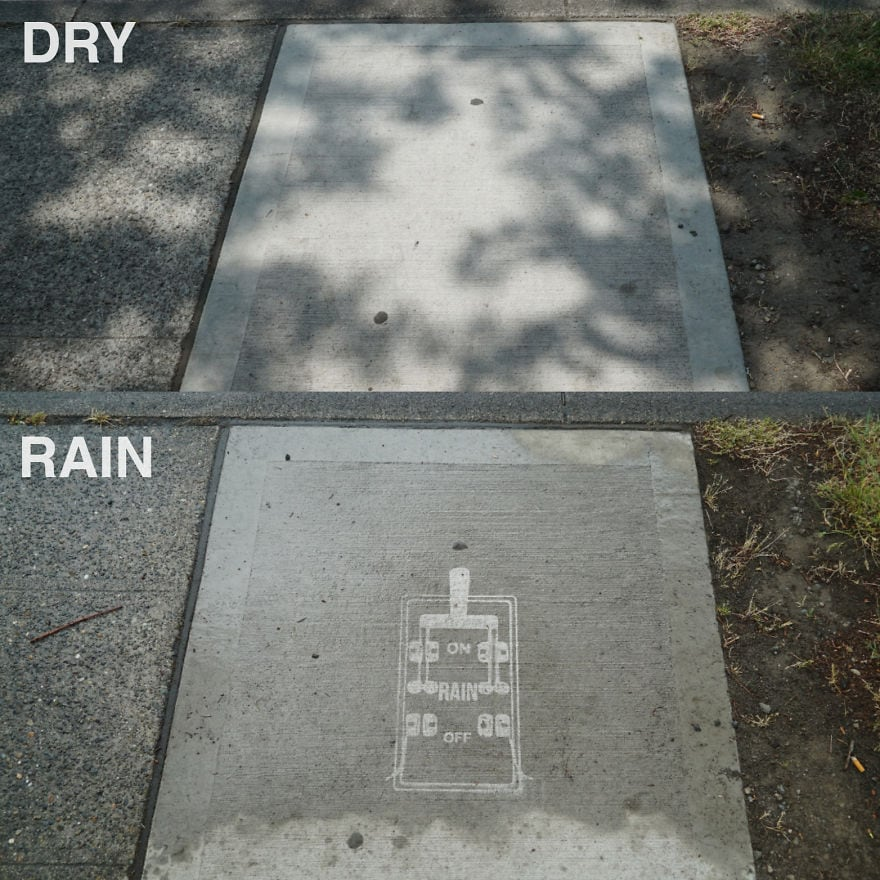 Художник оставляет невидимые рисунки на асфальте. Узнать, что там скрывается, можно лишь после дождя 54