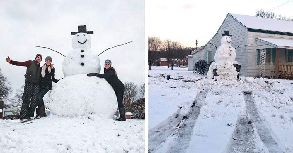 Вандал на машине попытался сломать трёхметрового снеговика. Он не знал, что снеговик окажется крепче