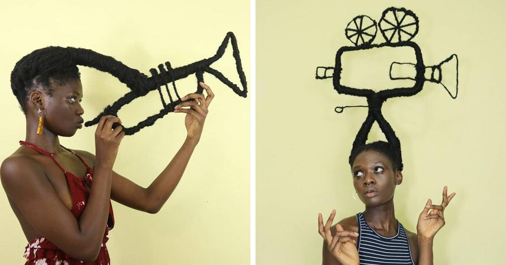 20 забавных скульптур от африканской художницы, которые она сделала из собственных волос