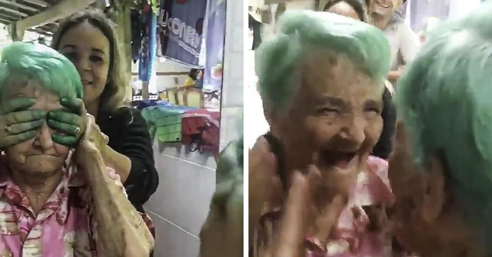 80-летняя бабушка, несмотря на запрет родных, осуществила давнюю мечту и покрасила волосы в зелёный
