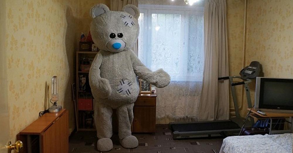 Мужчина решил сдать квартиру оригинальным способом: показал её с помощью медведя. Вышло криповато