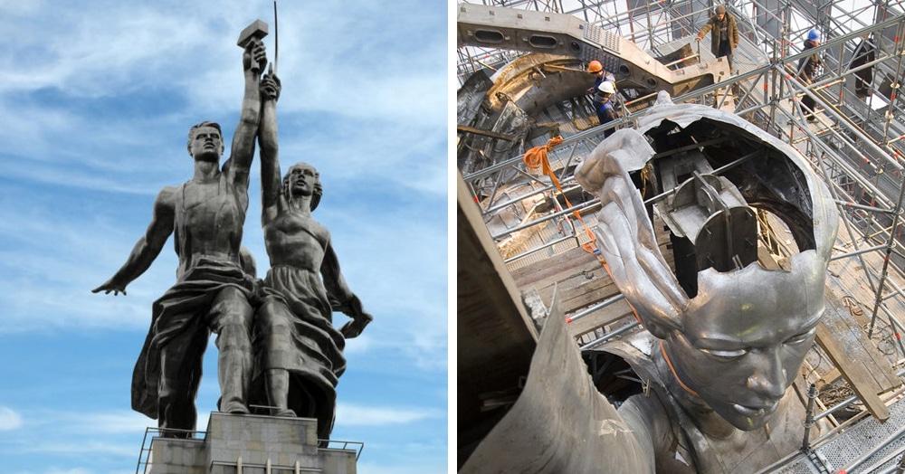 Монумент «Рабочий и колхозница» знают все. А что у него внутри? Фотографии реставрации