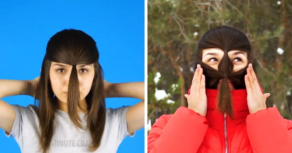 Новый тренд: девушки спасают лицо от мороза, завязывая на нём несколько хвостиков. Чубакка одобряет!