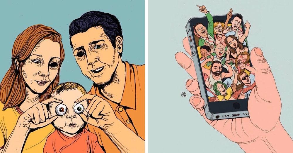 20 работ от иллюстратора, который показывает то, о чём все хоть раз, но задумывались