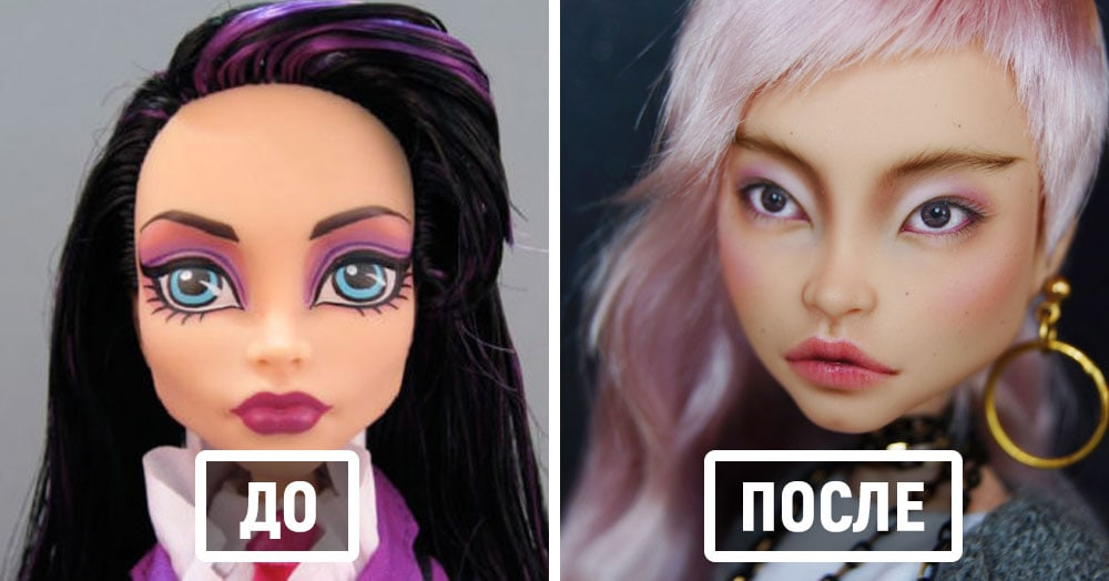 Художница смывает с кукол макияж и рисует им совершенно новые и очень реалистичные лица