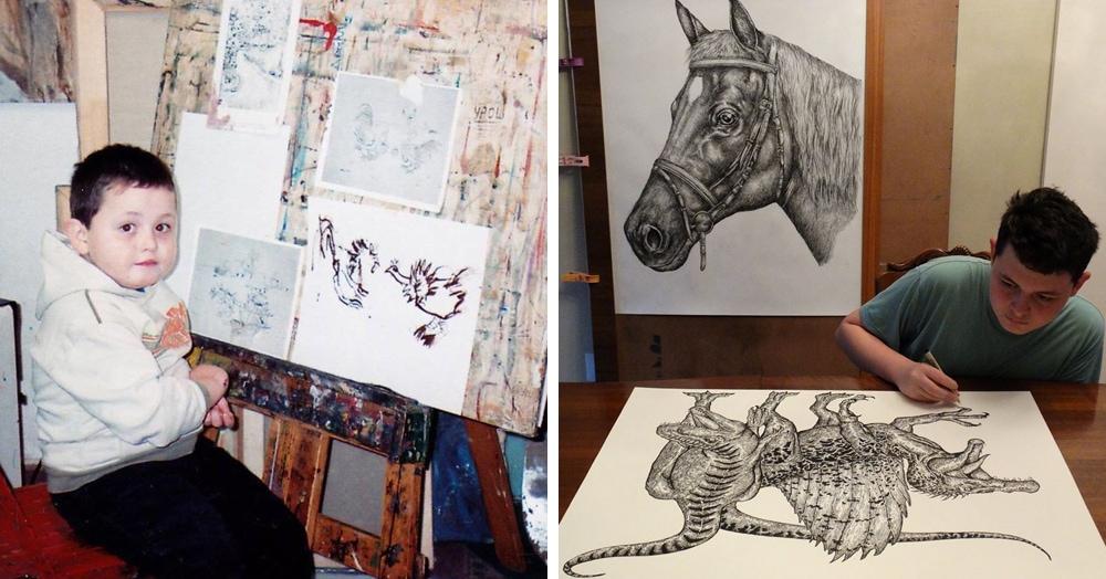 Этот сербский мальчик с 2 лет мечтал быть художником. Сейчас ему 16, и прогресс просто поразительный
