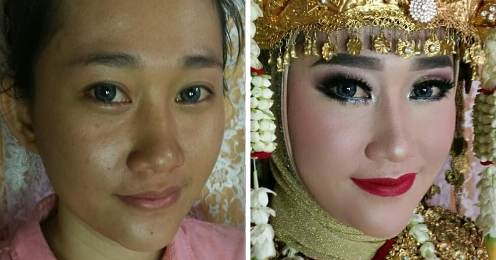20 фотографий невест из Азии до и после свадебного макияжа